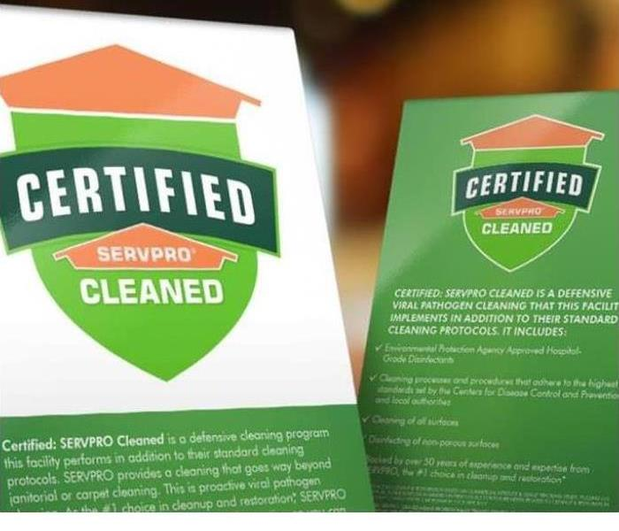 Certified: SERVPRO Cleaned table tops display